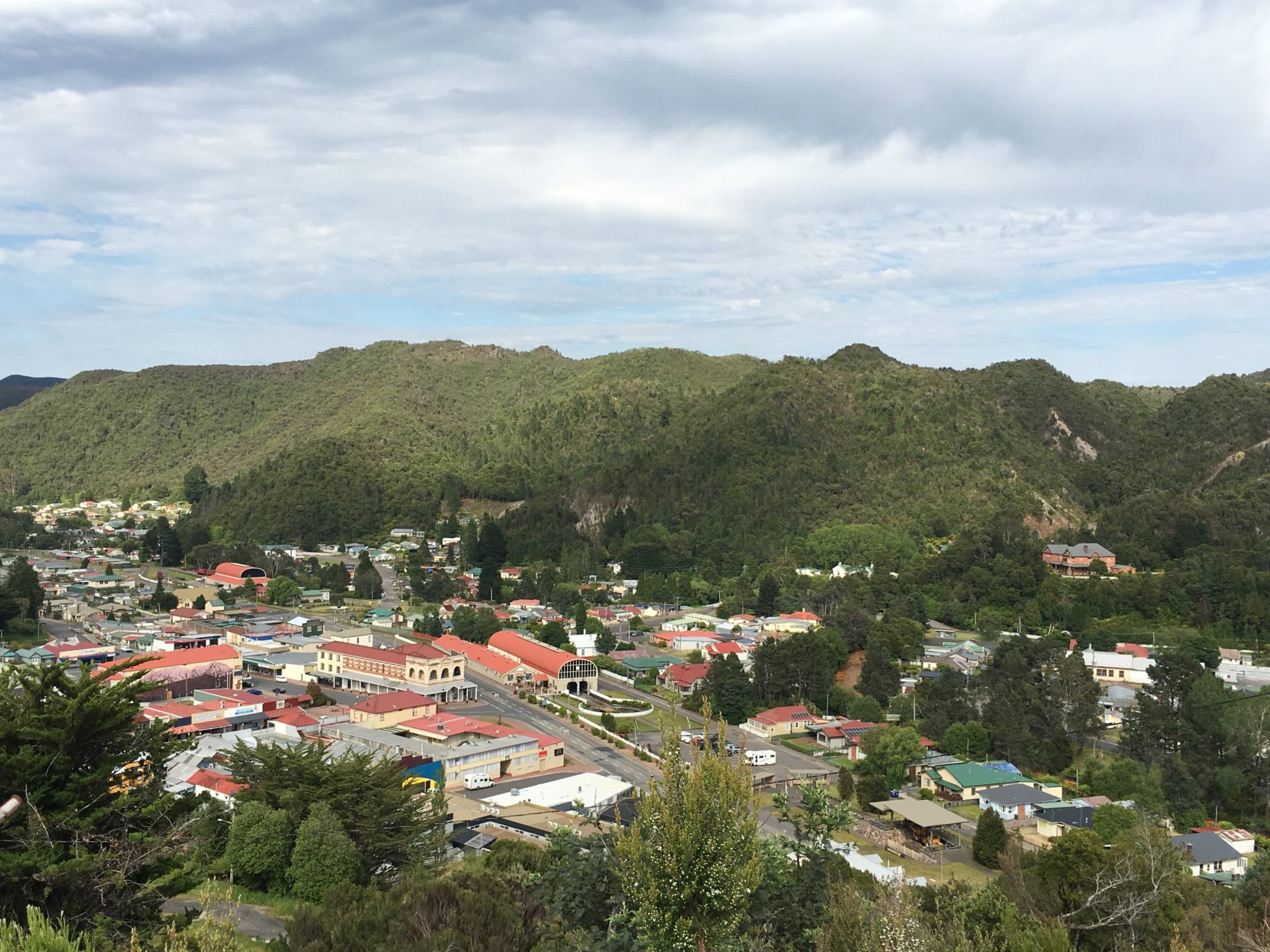 Queenstown Tasmania from Spion Kopf